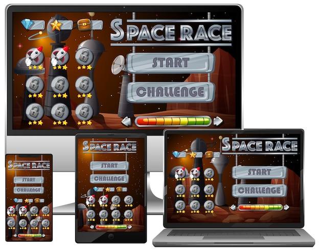 Gioco di missioni di corse spaziali su diversi schermi elettronici
