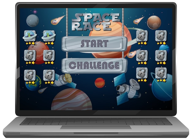 Space race mission game on laptop screen
