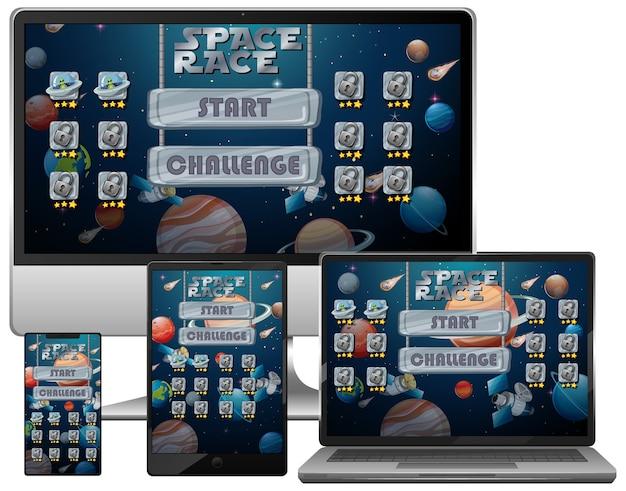 다른 전자 화면에서 우주 경주 미션 게임