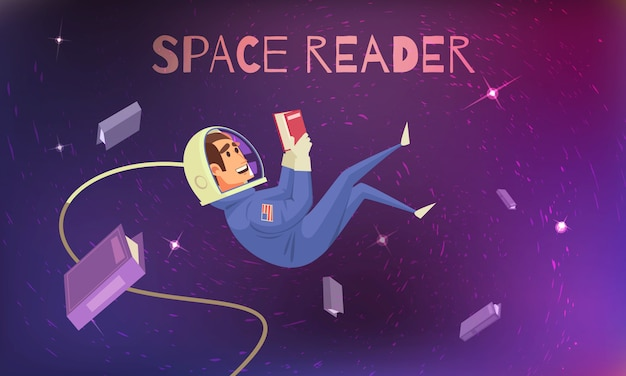 Space reading  with cosmonaut in spacesuit flat