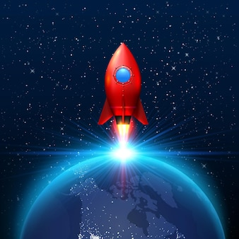 Space red rocket launch creative art, planetary startup . vector illustration
