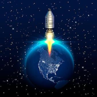スペースレッドロケット打ち上げクリエイティブアート、惑星スタートアップ。ベクトルイラスト