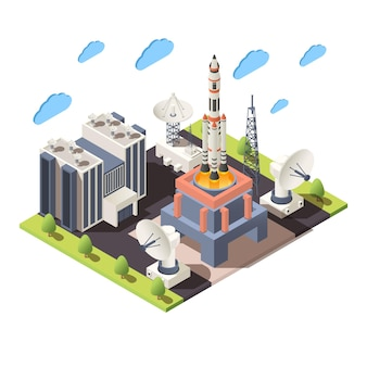 Space research 3d composition with command center launching rocket radars isometric illustration