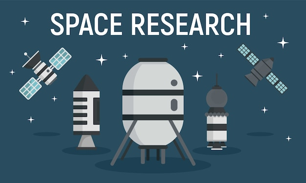 Space research equipment banner, flat style