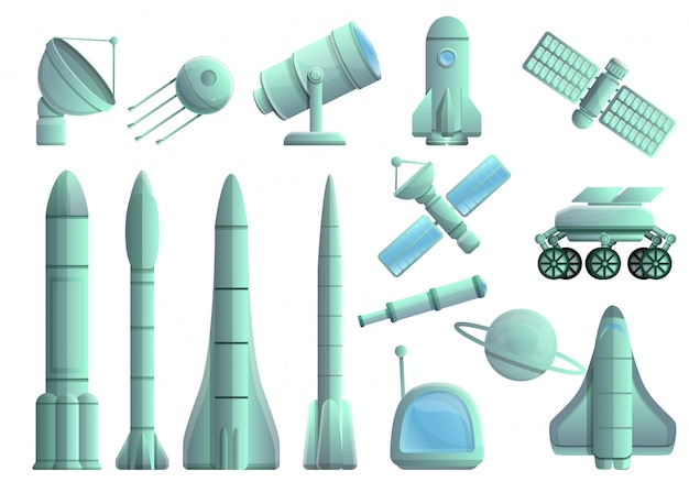 Space research technology set, cartoon style