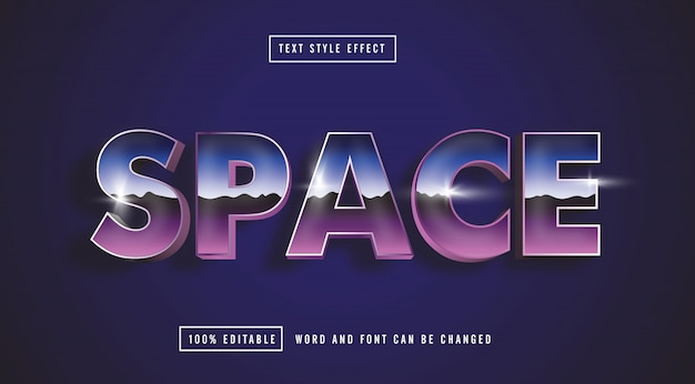 Space retro blue text effect editable