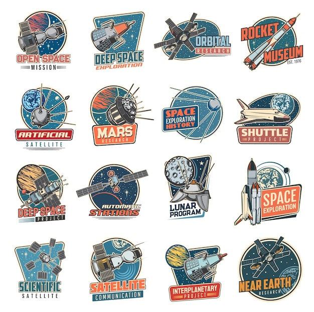 Space  retro icons mars mission, rocket museum and near earth orbital station, moon program, artificial satellite and deep space exploration.