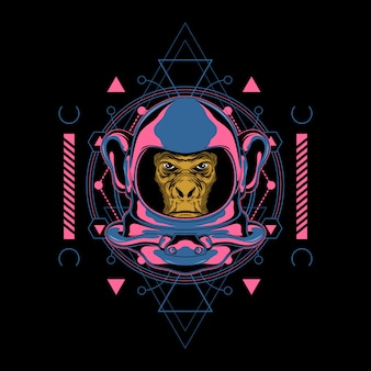 Space retro monkey illustration with sacred geometry
