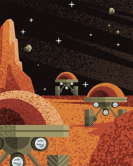 Space robots on planet of universe cosmos and futuristic theme