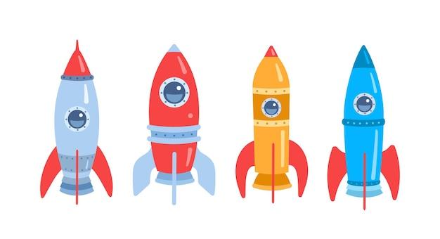 우주 로켓 만화 플랫 흰색 세트에 고립