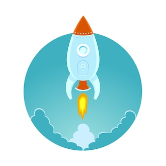 Space rocket flying in sky,   colored  illustration