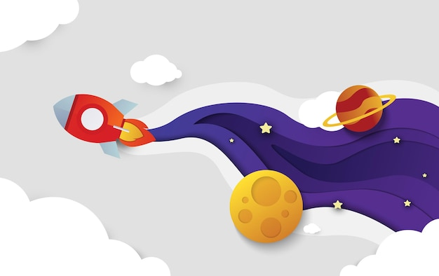 Space rocket flying in space with moon and stars on background print vector illustration