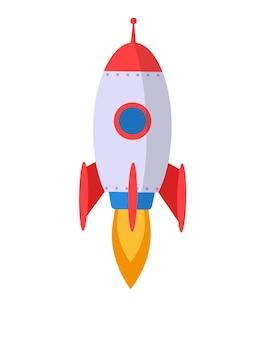 Space rocket flying upwards vector illustration isolated on white development technology rocket