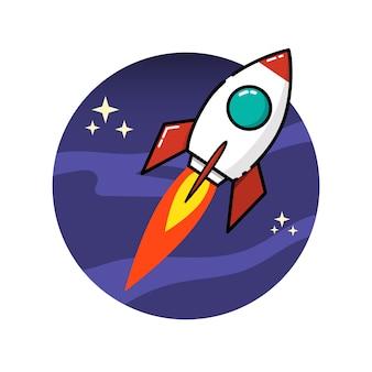白い背景の上のスタイルの宇宙ロケット。図