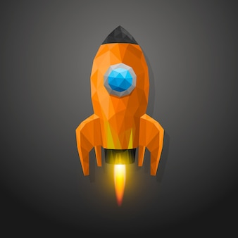 Space rocket launch 3d polygon. vector illustration