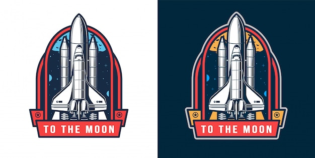 Space rocket launch badge set