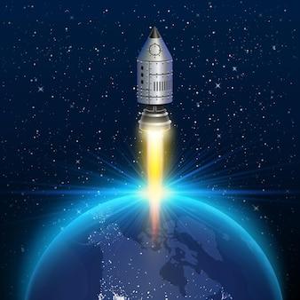 Space rocket launch creative art . vector illustration