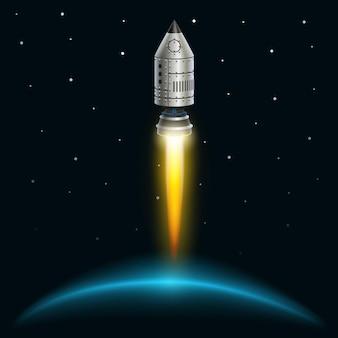 Space rocket launch creative art. vector illustration
