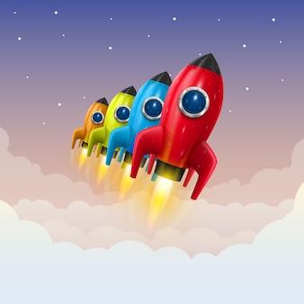 Space rocket launch, creative idea, rocket background , vector illustration
