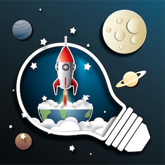 Space rocket launch and galaxy
