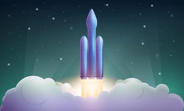 Запуск космической ракеты, иллюстрация
