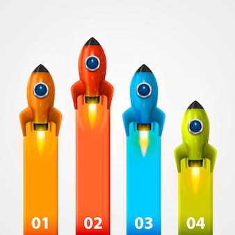 Space rocket launch info art. vector illustration