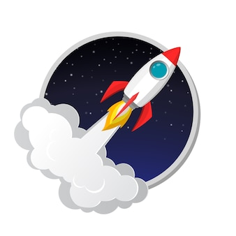 Space rocket launch model icon