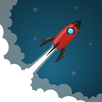 Space rocket launch to the night sky, stars and clouds on background.