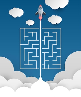 Space rocket launch overcomes maze start up concept flat style vector illustration