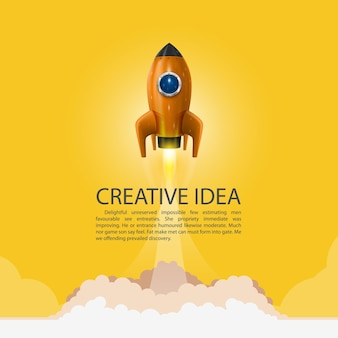 Space rocket launch. rocket background, rocket product cover, startup creative idea, vector