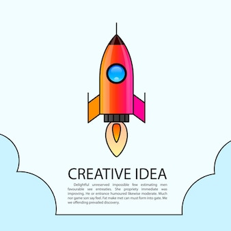 Space rocket launch. rocket creative startup. vector illustration
