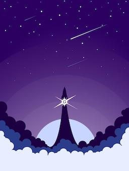 宇宙ロケットの打ち上げ。スタートアップまたは科学の概念。