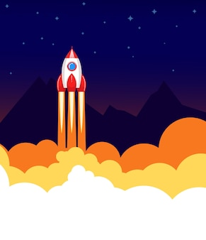Space rocket launch.  start up or science concept.