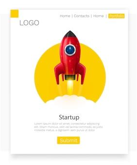Запуск космической ракеты. креативная идея стартапа. концепция целевой страницы.