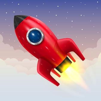 우주 로켓 발사, 시작 창의적인 아이디어, 로켓 배경, 벡터 일러스트 레이 션