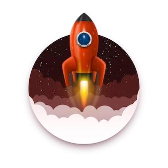 宇宙ロケットの打ち上げ、スタートアップの創造的なアイデア、ロケットの背景、ベクトル図