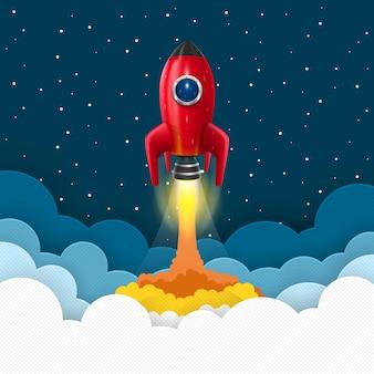 宇宙ロケット打ち上げ。スタートアップの創造的なアイデア、ベクトル図