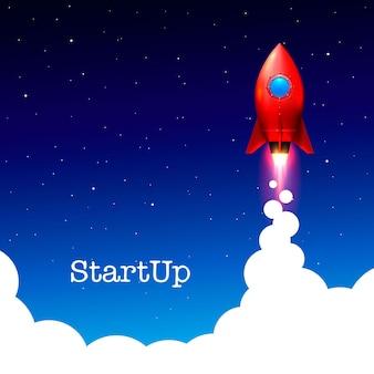 Space rocket launch. startup creative idea. vector illustration