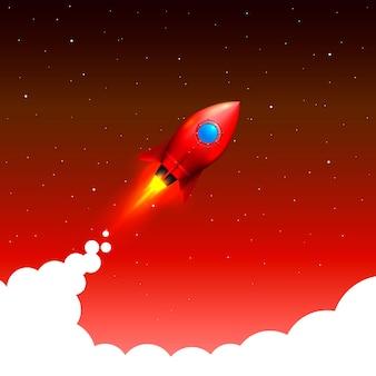 Space rocket launch. startup creative idea, vector illustration