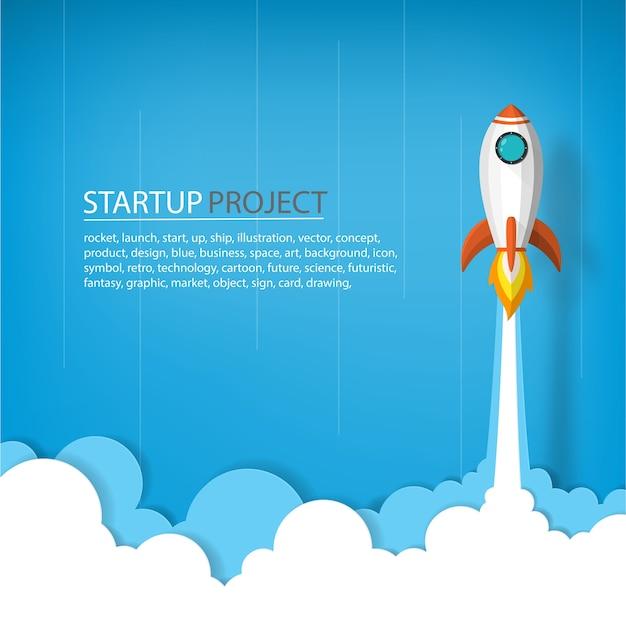 사업 또는 프로젝트의 시작 개념에서 하늘에 우주 로켓 발사