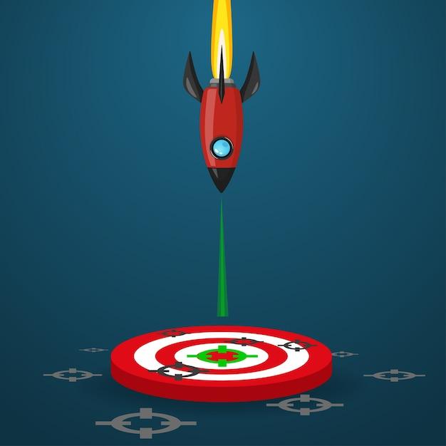 宇宙ロケット打ち上げを床上の目標に向けて進める。