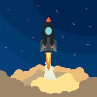 우주 로켓 발사. 비행 로켓 벡터 일러스트 레이 션. 우주 여행. 프로젝트 개발. 창의적인 아이디어,