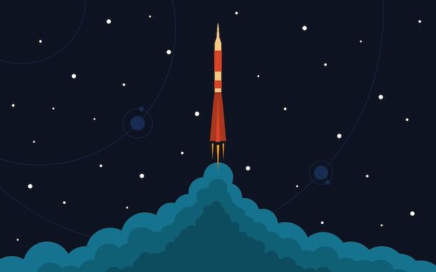 우주 로켓 발사. 비행 로켓 벡터 일러스트 레이 션. 우주 여행. 프로젝트 개발. 창의적인 아이디어.