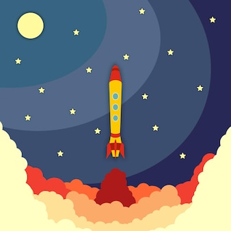 Space rocket launch. vector illustration with flying rocket. space travel. project development. creative idea,
