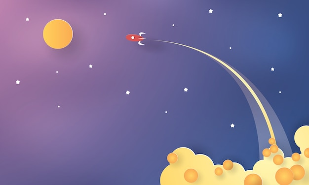 Space rocket lunch, start up concept, paper cut, craft vector
