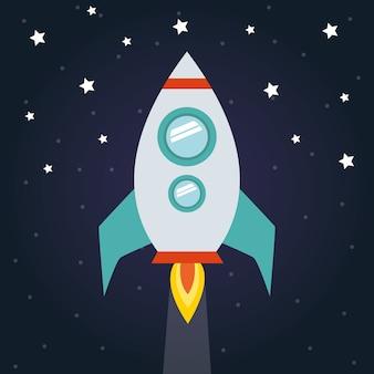 未来と宇宙をテーマにした星空を背景にした宇宙ロケット