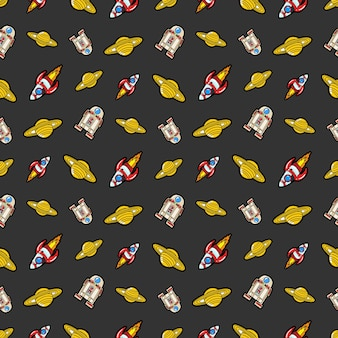 Space rocket robots and saturn seamless pattern.  background