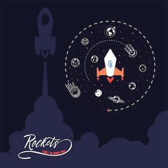 宇宙ロケット。科学とシャトル、軌道と宇宙の惑星、スタートアップビジネス。図