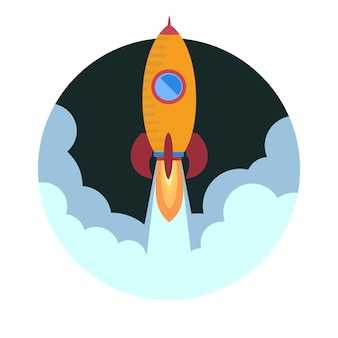 宇宙ロケット船の打ち上げ。ベクトルイラスト。