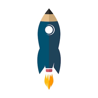 Space rocket ship pencil logo icon sign vector